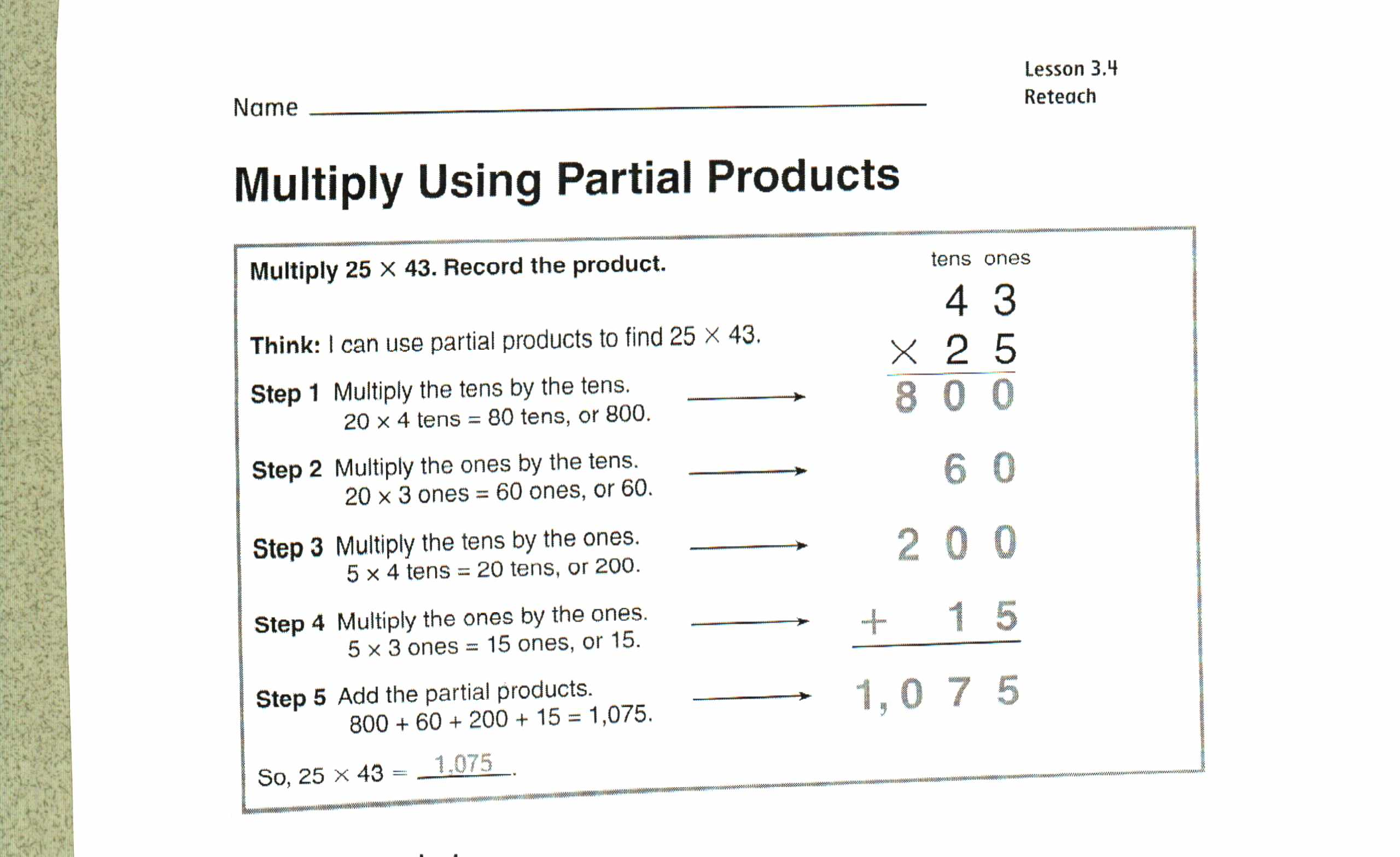 worksheet Partial Product Multiplication Worksheets chapter 3 mr kinneys 4th grade site any multiplication